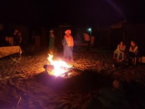 Rachid lighting the fire