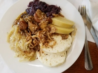 Traditional Czech goulash with sauerkraut and dumplings. Processed with VSCO with preset