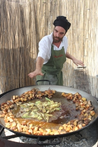 Making Paella Valenciana with a local chef